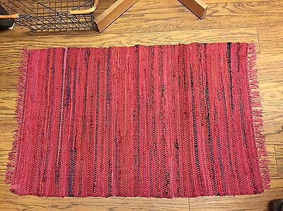 Sturbridge Rag Rug- 2' x 3' - 100% Cotton - color -Red