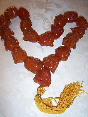 Vintage Reconstituted Amber Buddha Head Necklace
