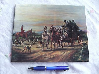 Reproduction-Of an Antique Oil Painting on Porcelain Plate - Stagecoach Scene