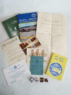 Brownie & Guide Collection Of Vintage Ephemora & Badges With North Wales Theme