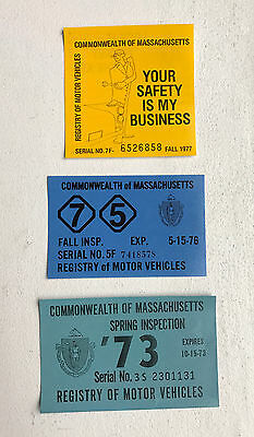 3 MA Auto Registration Stickers - Massachusetts Inspection License Decals