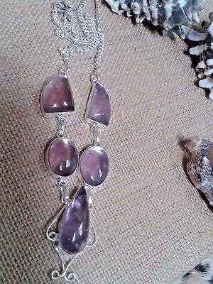Hand Made Necklace 18'' Amethyst  Gem Stone In German Silver 925 Total 29 Gram