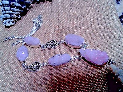 HAND MADE NECKLACE 18''agate druzy  GEM STONE IN GERMAN SILVER 925 TOTAL 38 GRAM
