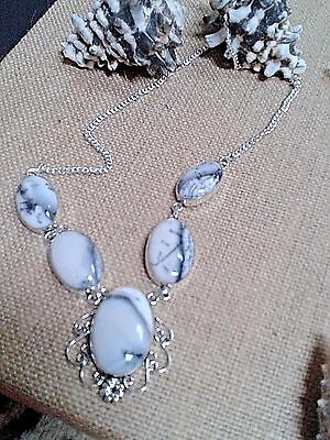 Hand Made Necklace 18'' Dendrite O  Gem Stone In German Silver 925 Total37 Gram