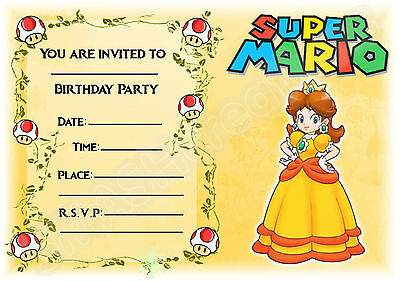 A5 Nintendo Super Mario Childrens Party Invitations X 12
