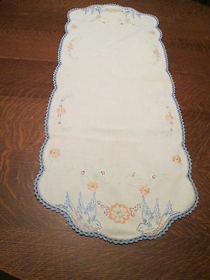 """Vintage Hand Embroidered & Crocheted Trim Table Runner/36 x 14""""/Blue Birds"""