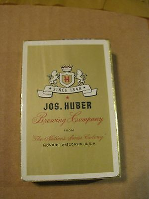 Unused Joseph Huber Brewing Co Monroe Wisconsin Wi  Poker  Playing Cards  Gold