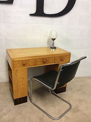 Stunning Art Deco  Maple Writing Desk with matching Period Chrome chair