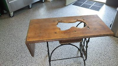 Antique Original 1887 Domestic Treadle Sewing Machine Wooden Top w/Front Drawer