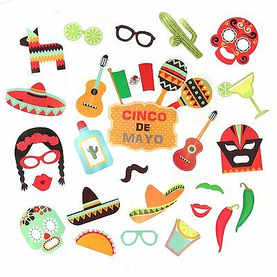 29pc Mexican Fiesta Party Moustache Sombrero Photo Selfie Booth Props on Sticks