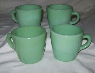 Impeccable Set of 4 Fire King Jadite Coffee Mugs - Oven Ware