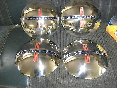 """4 - New 1940 Chevy Truck  Stainless  Hubcaps, For 15"""" & 16""""  Wheels"""
