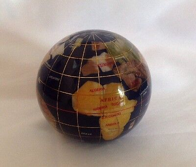 ** Stunning ~ Globe Heavy Paperweight ~ Countries Inlaid With Gem Stones **