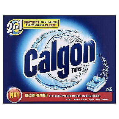 Calgon 2-in-1 Water Softener Washing Machine Lime Scale Prevention - 45 Tablets