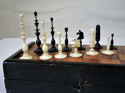 ANTIQUE 19th C. GERMAN PLAYING CHESS SET K 83 mm +BIEDERMEIER FOLDING BOARD