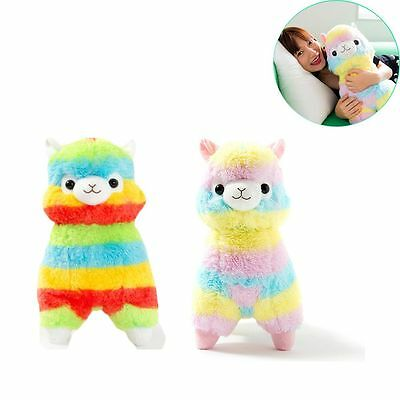 8in/14in Child Gift Toys& Games Rainbow Alpaca Striped Plush Animal Soft Doll