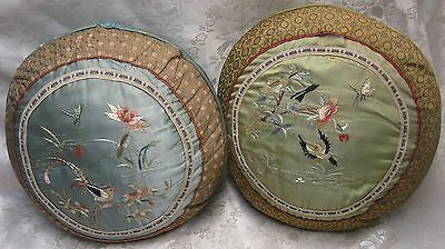 Circa 1900- Japanese, Antique, Fine, Hand-Embroidered- PAIR SILK CUSHIONS- RARE!