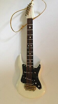 White Electric Guitar Musical Instrument Ornament 5""