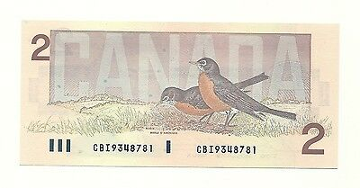 1986 CANADA TWO DOLLAR BANK NOTE (UNC) Bird Series