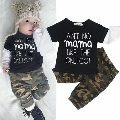 Newborn Toddler Baby Boys T-shirt Tops + Casual Loose Pants Outfits Clothes Set