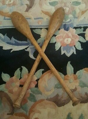 Antique vintage wooden juggling clubs