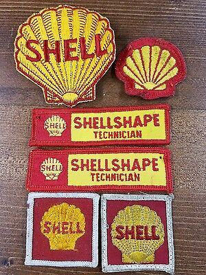 Vintage Shell Oil Sew on Uniform Patches Lot of 6 Yellow & Red  Shell Technician