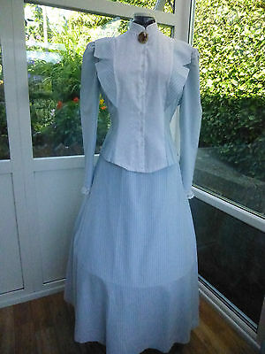 Victorian Costume Size 16 Lovely Blue And White Stripped