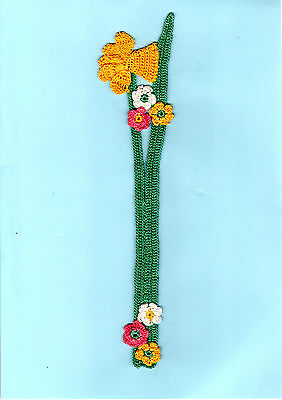Vintage Bookmark Pink Yellow Flowers White Green Lace Crochet Floral Gifts Her