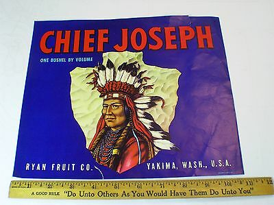 CHIEF JOSEPH~INDIAN~AUTHENTIC 1920s YAKIMA WASHINGTON APPLE FRUIT CRATE LABEL