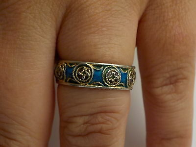 Silver Ring With Enamel And Gold Gilt Beach Metal Detecting Find