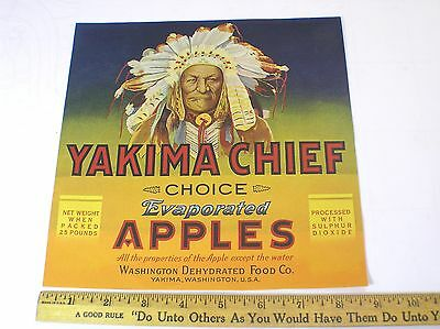 """YAKIMA CHIEF"" INDIAN~VINTAGE 1930s AUTHENTIC WASHINGTON APPLE FRUIT CRATE LABEL"