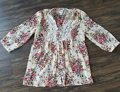 Motherhood Maternity size small loose sheer floral top blouse lace 3/4 sleeve