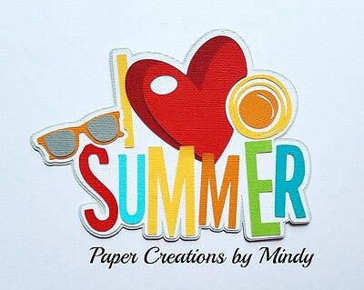 Craftecafe Mindy summer vacation premade paper piece scrapbook title diecut