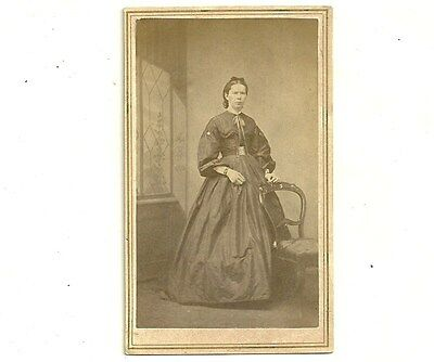 Antique CDV Photo Lovely Lady In Gown Caledonia Ontario Vintage Carte De Visite