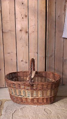 Large Vintage Hand Woven Wicker Basket Ideal Picnic, Shopping, Storage, Display