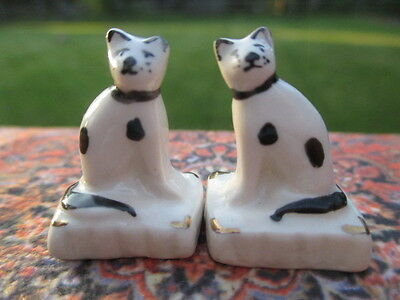 Dollhouse Miniatures~ Pair of White & Black w/ Gold Stafford-shire Cats, England
