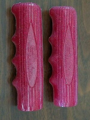 "Vintage Schwinn Approved 4 1/2"" Red Glitter Handlebar Grips Teardrop Stingray"