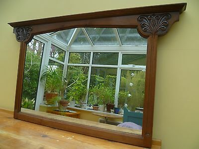 art nouveau walnut overmantle mirror