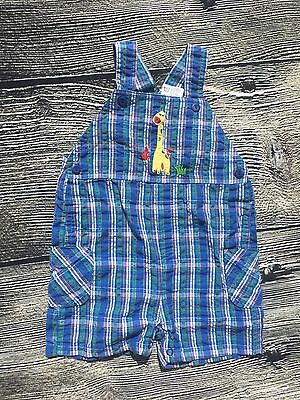 Vintage Carters overall shorts blue plaid boys giraffe 12 month romper