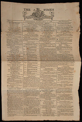 The Times Newspaper, Tuesday, January 1, 1788, First Issue, Copy, Centenary?
