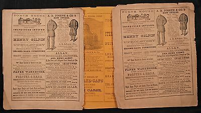 3 Antique Advertsing Bills, Newcastle Businesses, Victorian, 19th Century