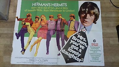 1960s UK QUAD FILM POSTER MRS BROWN YOU'VE GOT A LOVELY DAUGHTER HERMANS HERMITS