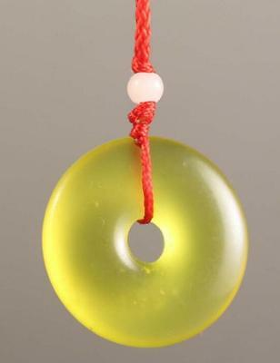 Chinese natural yellow jade hand-carved Lucky Jade pendant bring peace 1.2 inch