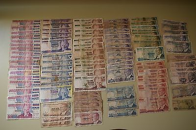 Lot, banknotes from Turkey 98 pcs.  Well circulated. (L1)