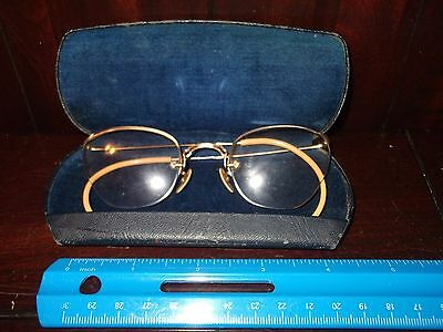 Antique 1/10  12KG FILLED WIRE RIM GLASSES W/ BLACK LEATHER CASE LINED BLUE