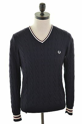 FRED PERRY Mens V-Neck Jumper Sweater Small Navy Blue Wool