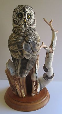 Franklin Mint The Great Gray Owl Porcelain Sculpture George Mcmonicle With Base