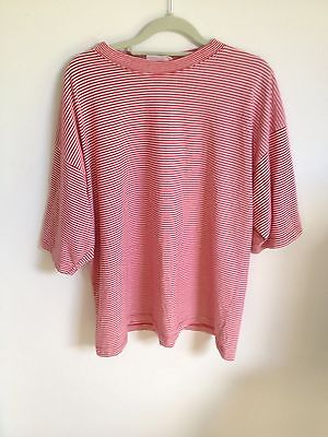 Vintage Tee - Striped Tshirt - Stripey - Red & White - Size L - Oversized