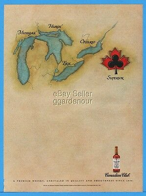 1992 Canadian Club Whisky Great Lakes MI Huron Ontario Erie SUPERIOR Logo Ad