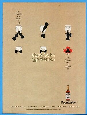 1992 Canadian Club Whisky Proper Way To Tie A Tie and Loosen Magazine Print Ad